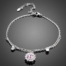 18K Gold GP Made With Swarovski Crystal Elements Pink Flower Bangle Bracelet