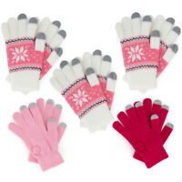 5pk Womens Knit Touchscreen Texting Gloves Assorted Styles Pink Fair Isle Nordic