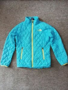 GIRLS S 7 8 years THE NORTH FACE blue QUILTED JACKET/COAT