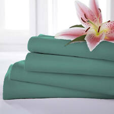 Charlotte Thomas Poetry Plain Dyed Dark Green Bed Linen Flat Sheet - 3 Sizes