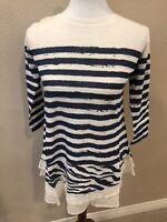 Blue & White Striped Slub Shirt Top W/ Lace - XXS - LOGO By Lori Goldstein  QQ15