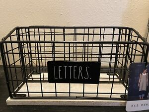 "NEW Rae Dunn Metal & Wood Farmhouse Desk Mail Organizer ~ ""Letters"""