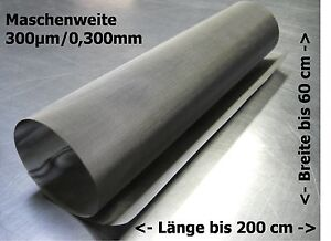 Tessuto Filtrante Acciaio Inox Mesh Gaze Drahtfilter 0,300mm 300µm 30-200x60cm