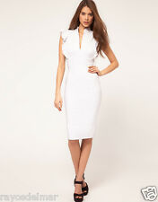 Hybrid Dress with Deep V Neck and Frill Sleeves WHITE COLOUR UK 8 NWT RRP£85.00