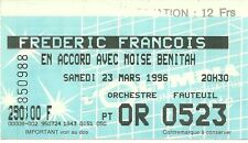 RARE / TICKET DE CONCERT - FREDERIC FRANCOIS LIVE A L' OLYMPIA PARIS FRANCE 1996