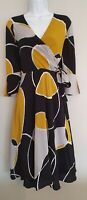 Womens Hobbs Black Mustard Crossover Slit Cuffs Side Belt Fit And Flare Dress 12