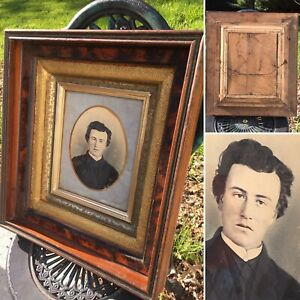 Antique Picture  Man Photo 3D Shadow Box Gold Leaf Wooden Goth Kyle MacLachlan?