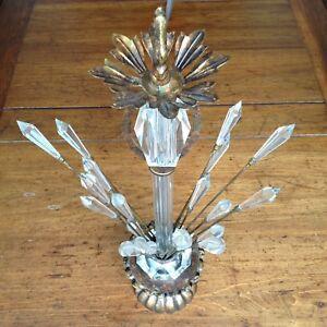 Antique Chandeliar Ornate Hanging Lamp Old Vintage Parts Spare Repair Crystal