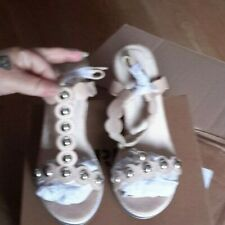 Beige  studded t bar wedges size 5 holiday faux suede