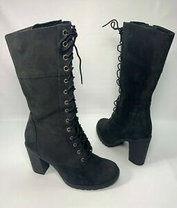 Timberland Women's Black Nubuck Leather Lace Mid-Calf Heeled Boots Size 7.5