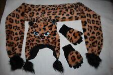 Girls 3 Pc Winter Set Faux Fur & Fleece Leopard Cat Hat & Scarf Fold Over Gloves
