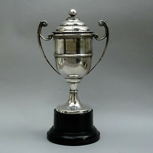 1937 Vintage Silver Plated Trophy Cup & Cover ~ CURWEN SNOOKER CUP ~ Davies
