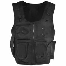 Adult Black Police FBI SWAT Pocket Army Vest Bullet Proof Fancy Dress Costume
