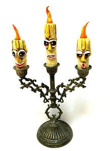 OOAK Hand Made Folk Art Primitive Halloween Faced Candelabra 6.5 Inches