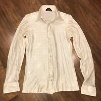 Vtg 60s 70s SATURDAY NIGHT DISCO HIS Dress shirt Shiny Nylon Blend Mens MEDIUM