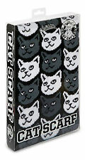 "Cat Scarf ~ Grey and White Cats on Black Background soft-knit acrylic 71"" long"