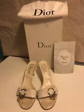 Authentic christian Dior White Sandal/ Mule Silver Charm Sz  36 1/2 Leather $660