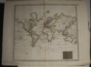 WORLD EXPLORER'S TRACKS 1814 THOMSON ANTIQUE WORLD MAP ON MERCATOR'S PROJECTION