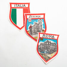 VTG Italia Firenze Roma Souvenir Printed Fabric Patch Badge Three Pcs