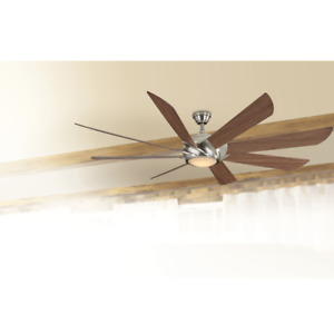 """70"""" Large Windmill Cabin Ceiling Fan + Remote LED Light Brushed Nickel Farmhouse"""