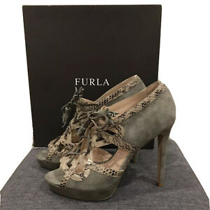New FURLA Womens Python Embossed Leather Suede Heels Shoes Size 40 9 BNIB Snake