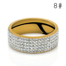 Gold Silver Sz8-10 Unisex CZ Stainless Steel Ring Men/Women's Wedding Band Rings