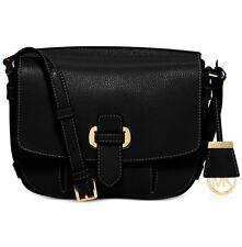 NWT Michael Kors Romy Medium Messenger Black /Gold Leather Handbag ~ MSRP $298