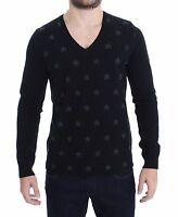NWT $320 COSTUME NATIONAL C'N'C Black Gray Star Print V-neck Sweater Top IT48 /M