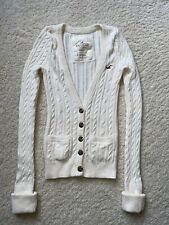 Hollister Cream Ivory Cable Knit Button Down Womens Cardigan Sweater, Small