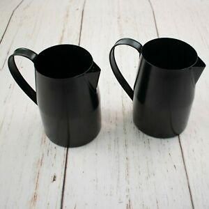 """2 Black Metal Pitcher Galvanized Painted 6.25"""" Tall"""