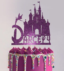 Cinderella Castle Princess personalised Glitter Card Birthday cake topper Disney