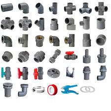 PVC Grey 25mm ID Pressure Pipe Fittings Metric Solvent Weld Various Parts