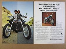 1973 Suzuki TS400 TS-400 APACHE motorcycle photo vintage print Ad