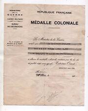 """Diplôme Médaille coloniale Saïgon 1951 """"Extrême Orient"""" 3° compagnie de marche"""
