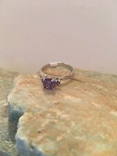 Simple Style Round Cut Amethyst Gemstone STERLING Silver PLATED Ring Size 9-R800