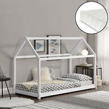 [en.casa] Cama para niños de madera pino con colchón 90x200cm Casa Pino Blanco