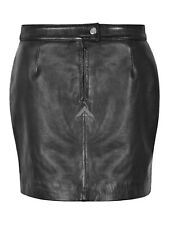 Ladies Real Leather Black Skirt Women Formal Party Pencil Utility Skirt 4006