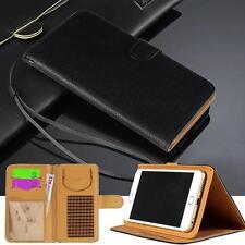 Negro Magnético Abatible Cubierta De pie Billetera Cuero Estuche Para Varios Teléfonos Naranja