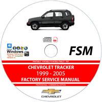 Chevrolet Tracker 1999 2000 2001 2002 2003 2004 2005 Service Repair Manual on CD