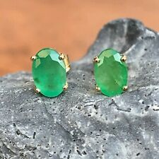 14 KT Yellow Gold Green Faceted Oval Emerald Post Earrings NEW 1.00 Carat TW