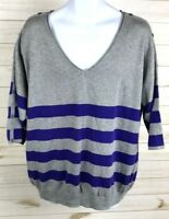 Lane Bryant Women's Gray Striped V-Neck Sweater 3/4 Sleeves Size 18/20 EUC A5305
