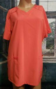 Dickies Orange Scrub Top Sz L V Neck Short Sleeve Pocket 4 Way Stretch Easy Care