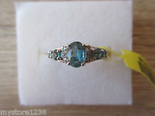 Teal Kyanite & White Zircon Ring Platinum Overlay Sterling Silver Sz 5