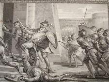 GRAVURE XVIIIe / MORT DE ROBERT LE FORT PREMIER DUC DE FRANCE AN 866