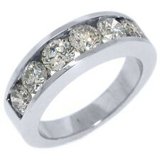 MENS 2 CARAT BRILLIANT ROUND CUT DIAMOND RING WEDDING BAND 14KT WHITE GOLD