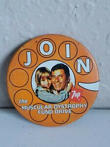 "7up Metal Advertising Pin ""JOIN the Muscular Dystrophy Fund Drive"" RARE!"