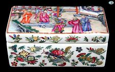 Antique 1800s Asian Chinese Large Porcelain Box of King & Queen Royalty Scene