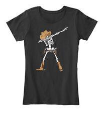 Dabbing Skeleton Cowboy Hat Halloween Women's Premium Tee T-Shirt