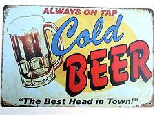 COLD BEER ON TAP METAL TIN SIGNS vintage cafe pub bar decor