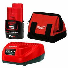 Milwaukee  12V 2.0Ah Li-Ion Cordless battery , charger , bag Combo Kit